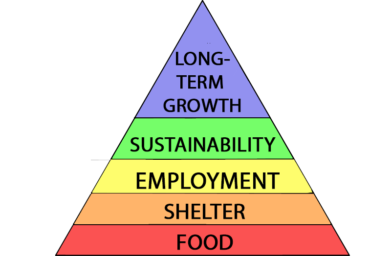Daydreamer Hierarchy Of Needs. Pyramid showing varying levels. At the bottom, there is food, above there is shetler, then employment, sustainability and long-term growth.